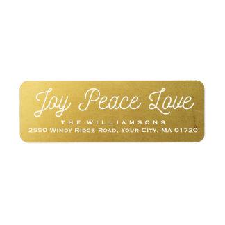 Christmas Joy Peace Love Custom Gold Return Address Label