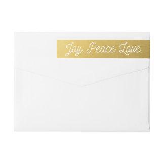Christmas Joy Peace Love Custom Gold Wraparound Return Address Label