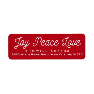 Christmas Joy Peace Love Custom Red Return Address Label