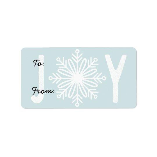 Christmas JOY Snowflake Gift Label
