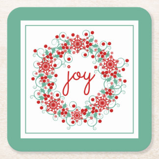 Christmas Joy Snowflake Wreath Square Paper Coaster
