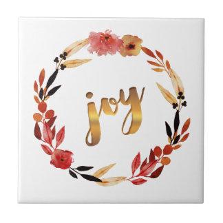 Christmas Joy Watercolor Wreath ID292 Tile