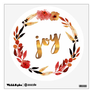 Christmas Joy Watercolor Wreath ID292 Wall Sticker