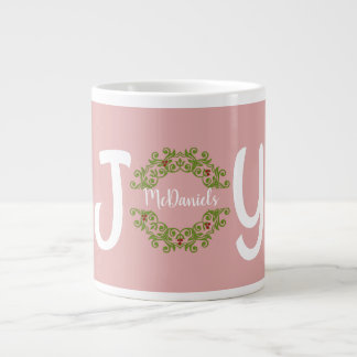 Christmas JOY, with family name in wreath (rose) Large Coffee Mug