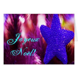 Christmas Joyeux Noel Blue Christmas Star Greeting Card