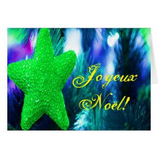 Christmas Joyeux Noel Green Christmas Star Greeting Card