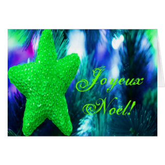 Christmas Joyeux Noel Green Christmas Star I Greeting Card