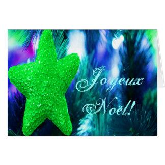 Christmas Joyeux Noel Green Christmas Star III Card