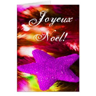 Christmas Joyeux Noel Purple Christmas Star  II Greeting Card