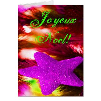 Christmas Joyeux Noel Purple Christmas Star III Greeting Card