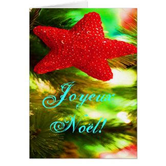 Christmas Joyeux Noel Red Christmas Star Greeting Card