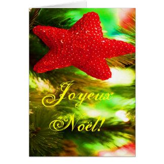 Christmas Joyeux Noel Red Christmas Star I Card
