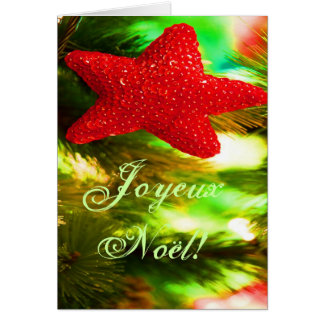 Christmas Joyeux Noel Red Christmas Star II Greeting Card