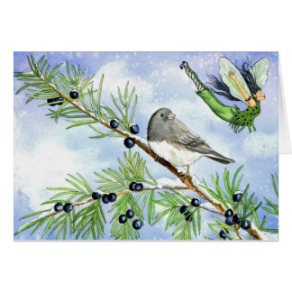 Christmas junco and juniper fairy greeting card. card