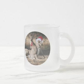 Christmas Kangaroos Australian Style 10 Oz Frosted Glass Coffee Mug
