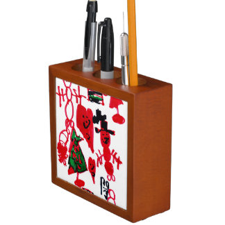 Christmas Kids Drawing Snowmen and Hearts Desk Organizers