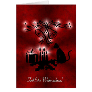 Christmas kind Deco with black cat Card