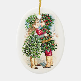 Christmas Kiss Ceramic Ornament