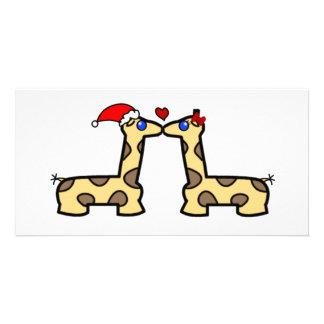 Christmas Kissing Giraffes Photo Card Template