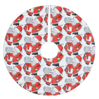 CHRISTMAS KISSING SANTA tree skirt