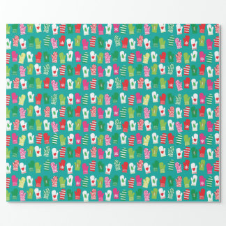Christmas Kitchen Mitts Pattern Wrapping Paper