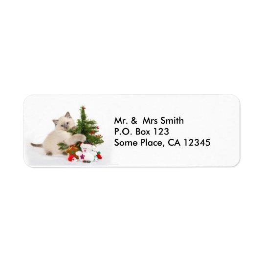 Christmas Kitten Address Labels
