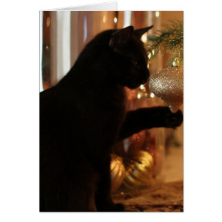 Christmas Kitten Notes, Black Cat/Gold Ornament Card