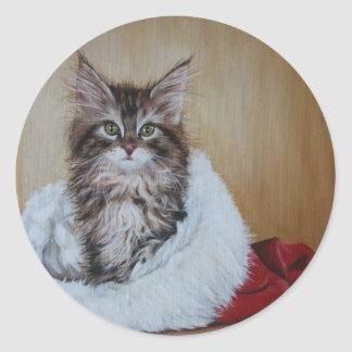 Christmas Kitten Painting Stickers