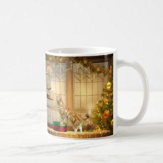 Christmas kitties and mouse basic white mug
