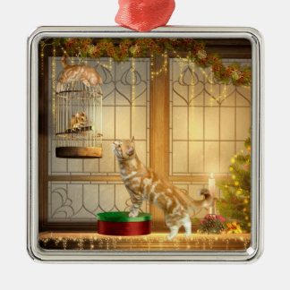 Christmas kitties and mouse Silver-Colored square ornament