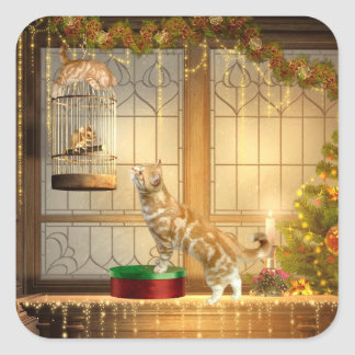 Christmas kitties and mouse square sticker
