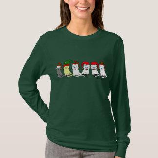 Christmas Kitties In A Row Womens'  T-Shirt