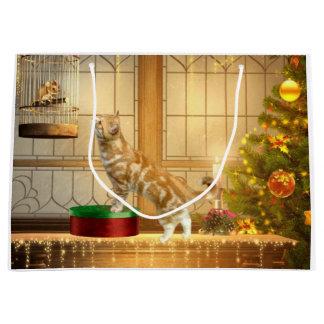 Christmas kitty and Christmas mouse Large Gift Bag