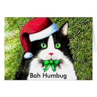 Christmas Kitty Cat Bah Humbug Greetings Card