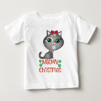 Christmas Kitty Cat Holiday Girls White T-shirt
