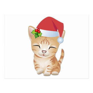 Christmas Kitty Cat Postcard