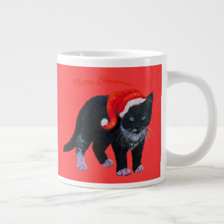 Christmas kitty cat Tuxedo on red Large Coffee Mug
