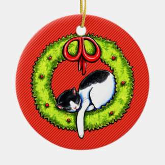 Christmas Kitty Cat Wreath Ceramic Ornament