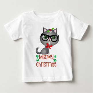 Christmas Kitty Hipster Cat Holiday White T-shirt