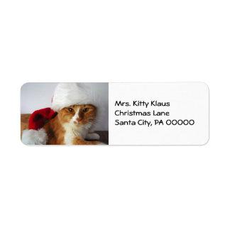 Christmas Kitty in Santa Hat Return Address Labels