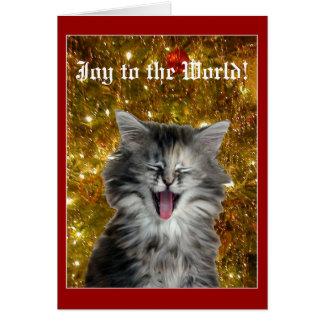 Christmas kitty makes a joyful noise greeting card