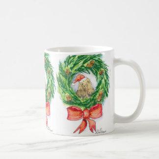 Christmas Kiwi on A wreath mug