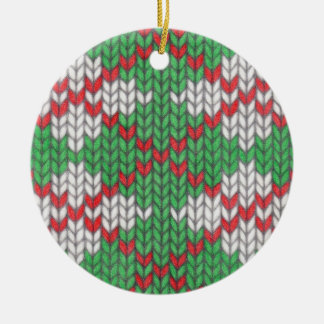Christmas Knit Argyle Circle Ornament (2-sided)