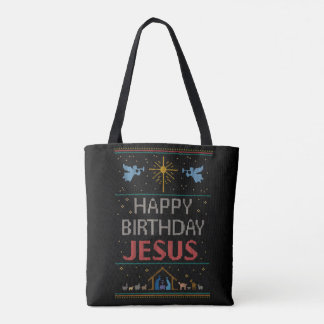 Christmas Knit Happy Birthday Jesus Religious RED Tote Bag