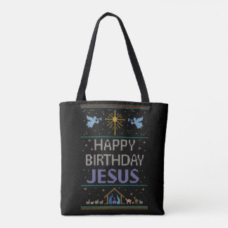 Christmas Knit Happy Birthday Jesus Religious Tote Bag