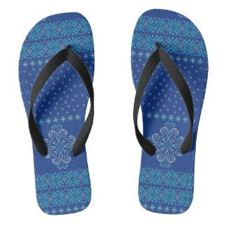 Christmas knitted pattern flip flops