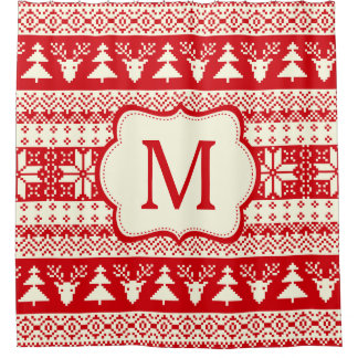 Christmas Knitted Pattern Monogram Initial