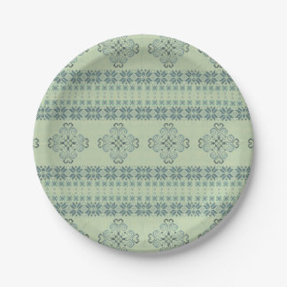 Christmas knitted pattern paper plate