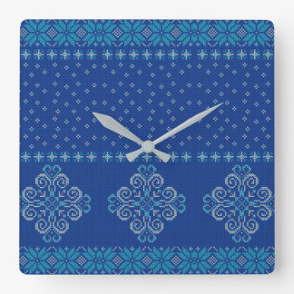 Christmas knitted pattern square wall clock
