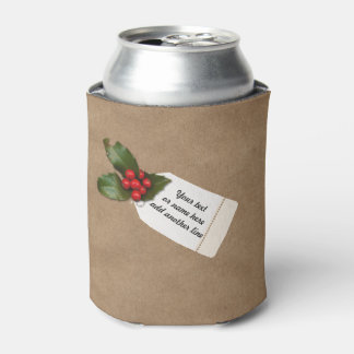 Christmas Kraft Paper Present, Holly & Gift Tag Can Cooler
